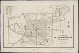 Plan of the city of Christchurch, Canterbury, N.Z. [cartographic material].