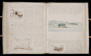 Double page diary entries - Bambridge's house in Judges Bay, Auckland