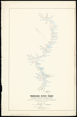Sketch map of portion of Wanganui River between the junctions with the Ohura and Ongaruhe [cartographic material].