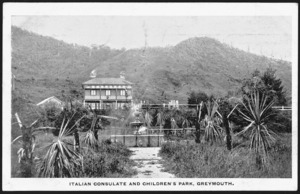 Postcard. Italian Consulate and children's park, Greymouth. Yeadon, photo. Perkins, stationer, Greymouth. [ca 1900-1914]