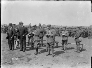 William Massey and Sir Joseph Ward at a New Zealand Infantry Brigade church parade, France, World War I