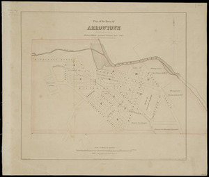 Plan of the town of Arrowtown [cartographic material] / Richard Millett, assistant surveyor, June 1867 ; W. Spreat, Lith ; J.T. Thomson, Chief Surveyor.