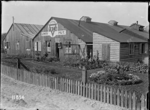 An external view of the YMCA Lowry Hut at the New Zealand Infantry and General Base Depot, Etaples