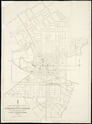 Map showing the boundaries and names of the divisions of the existing electoral district of City of Christchurch into three electoral districts, under the City Single Electorates Act, 1903 [cartographic material] : as defined by the Representation Commission, March 1905.