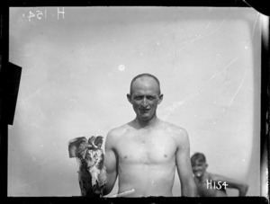 The winner of the duck hunt at the New Zealand Division water sports, World War I