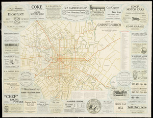 Map of Christchurch [cartographic material] : shewing tram routes & public buildings.