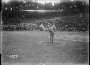 Winning hammer throw at the New Zealand General Base Depot Sports, Etaples