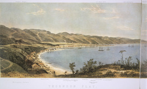 Smith, William Mein 1799-1869 :The harbour of Port Nicholson and the town of Wellington (sketched in the middle of the year 1842). [left-hand portion].
