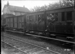 New Zealand troops on the leave train during World War I