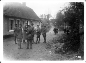 The New Zealand Commander inspects billets of 2nd Canterbury Regiment, France