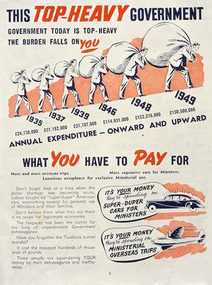 New Zealand National Party: This top-heavy government; what you have to pay for. [1949]