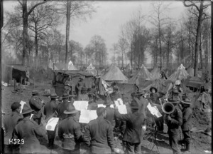 An Otago Regimental Band performing at Louvencourt, World War I