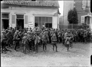 New Zealand soldiers outside an army canteen, France