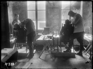 Soldiers undergoing dental treatment during World War I