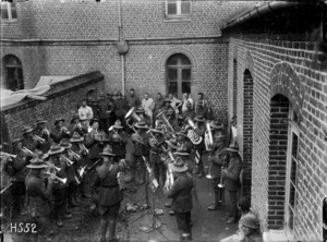 Otago Regimental Band playing in Louvencourt, France