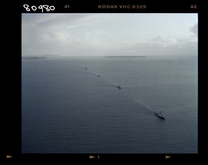 Canadian warship with the naval flotilla entering Auckland harbour