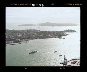 Royal New Zealand Navy ships with the naval flotilla entering off Devonport, North Shore, Auckland