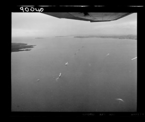 Royal New Zealand Navy ships with the naval flotilla entering Auckland harbour