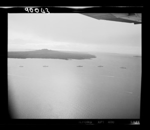 Royal New Zealand Navy ships with the naval flotilla entering Rangitoto Channel, Auckland