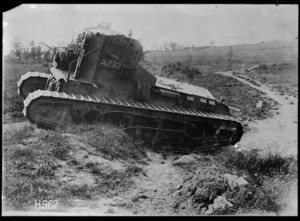 A Whippet tank crossing a trench, World War I