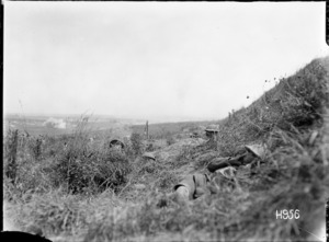 New Zealand support troops in their shell hole positions on the Western Front during World War I