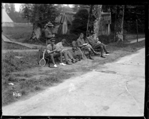 World War I New Zealand officers waiting for their tennis set