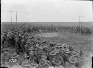 The target for the bomb throwing competition at the New Zealand Divisional Sports, Authie, World War I