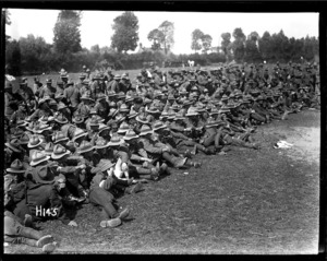 Some of the spectators at the New Zealand Division boxing championships held in France during World War I