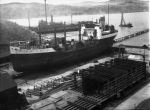 Oil tanker Paua, coal-ship Wingatui, and oil barge Hinuwai under construction, at Evans Bay, Wellington