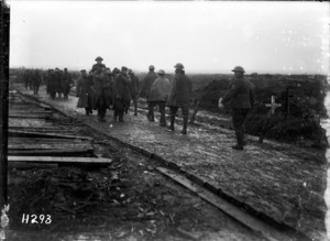 New Zealand troops move down a corduroy road, Ypres Salient