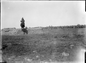 A jump at the New Zealand Infantry Brigade horse show in France, World War I