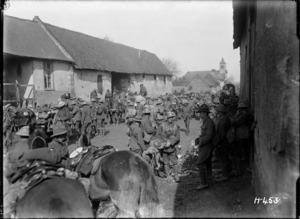 World War I New Zealand soldiers in a French village on the Somme