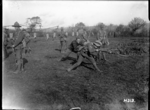 Bayonet practice for New Zealand troops in World War I