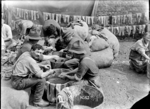 Soldiers busy washing socks during World War I, France