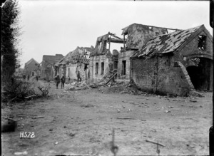 The ruined buildings along the main street of Hebuterne, France