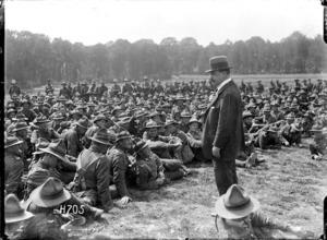 Sir Joseph Ward addressing the Machine Gun Battalion in France during World War I