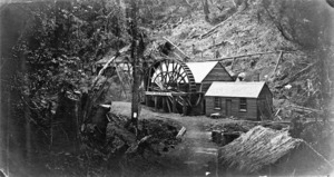 View of the Halcyon Gold Mining Company, Karaka Creek, Thames
