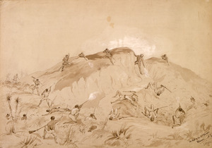 Heaphy, Charles 1820-1881 :The fight at the 2nd Parapet. Waiari [1863]