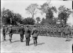 Prime Minister William Massey addressing the New Zealand Army Service Corps, Louvencourt, France