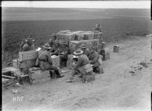 A New Zealand machine gun company receives instruction in the transport lines, France