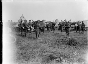 An Auckland Regimental pipe band playing in France during World War I