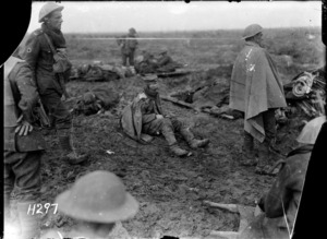 A badly wounded German awaiting treatment on the Somme