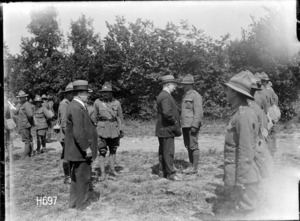 Prime Minister William Massey with a New Zealand Infantry Brigade, Louvencourt, France