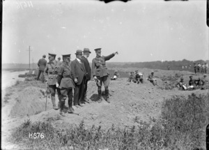 Prime Minister William Massey and Sir Joseph Ward observe New Zealand tactical exercises, Bois-de-Warnimont, France