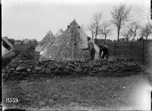 Camouflaging army tents during World War I, France