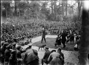 An open air vaudeville performance during World War I