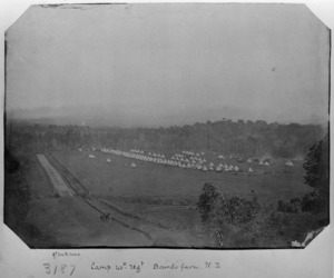 Camp of the 40th Regiment, Imperial forces, at Baird's farm, Great South Road, Waikato