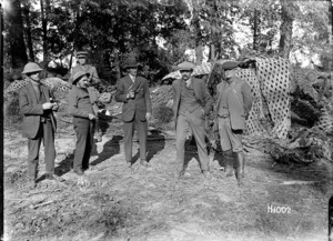 New Zealand journalists inspect a German dugout at Haplincourt, World War I