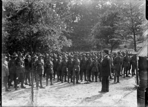Sir Joseph Ward addressing NZFA troops during World War I, France