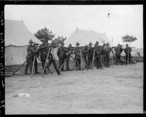 Soldiers instructed in rifle shooting at a New Zealand camp in England, World War I